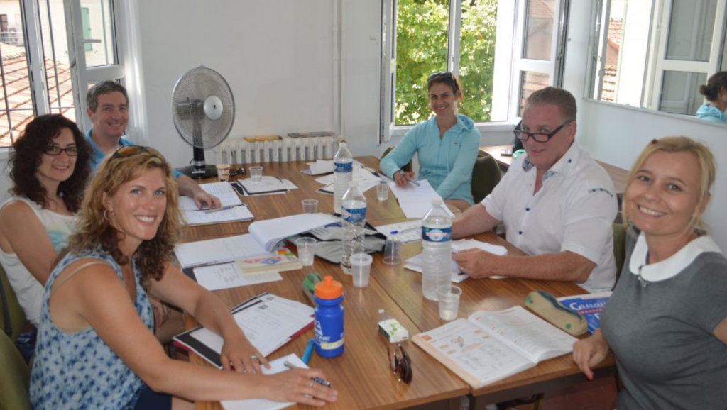 Adult students learn French in the south of France
