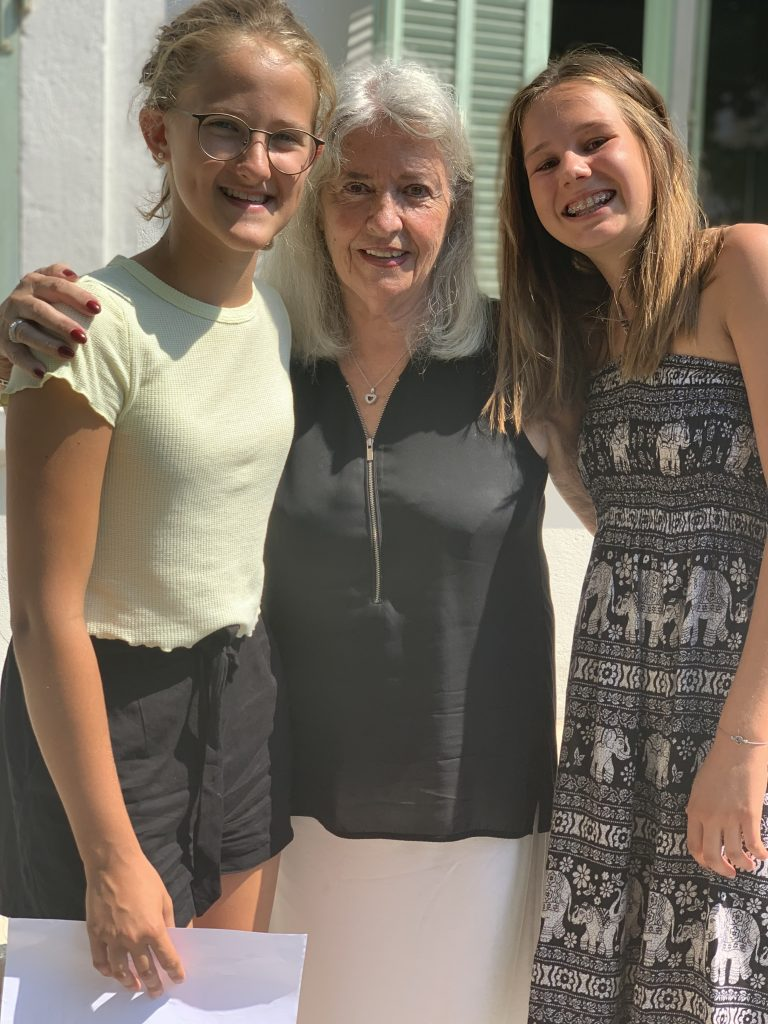 Teenager students with teacher at French summer school in Cannes