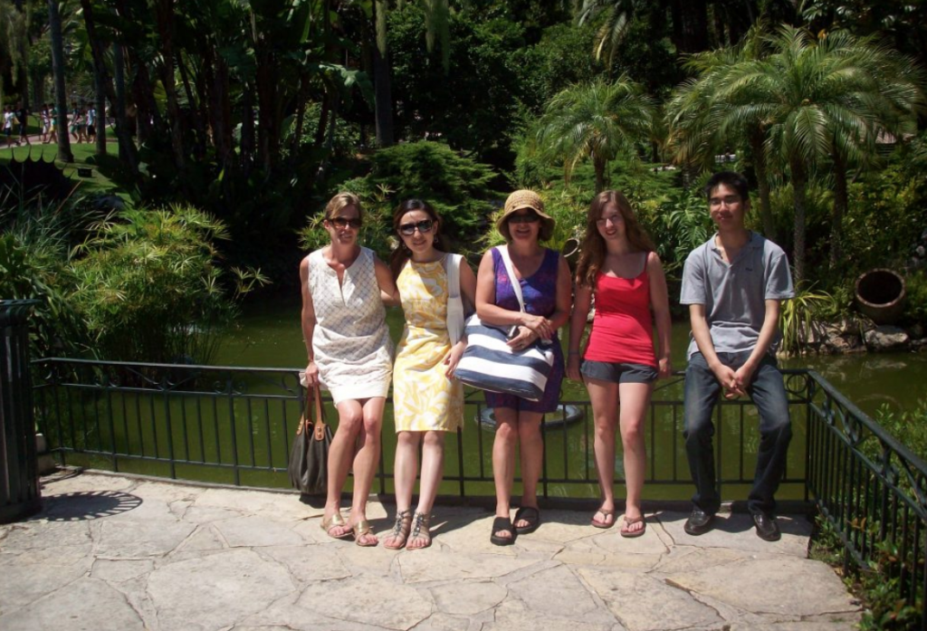 A group of adult students on a outing to Monaco exotic garden during French summer school in Cannes