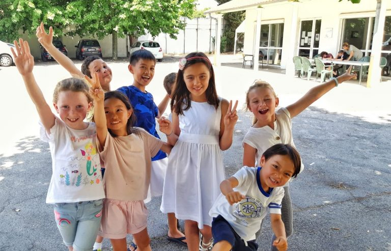 Happy kids at French summer camp, south of France