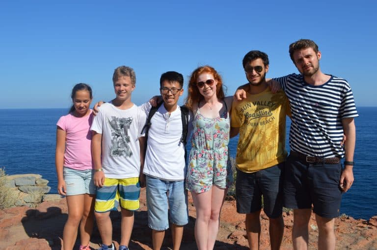 French summer school students on a outing to Saint-Raphaël, south of France