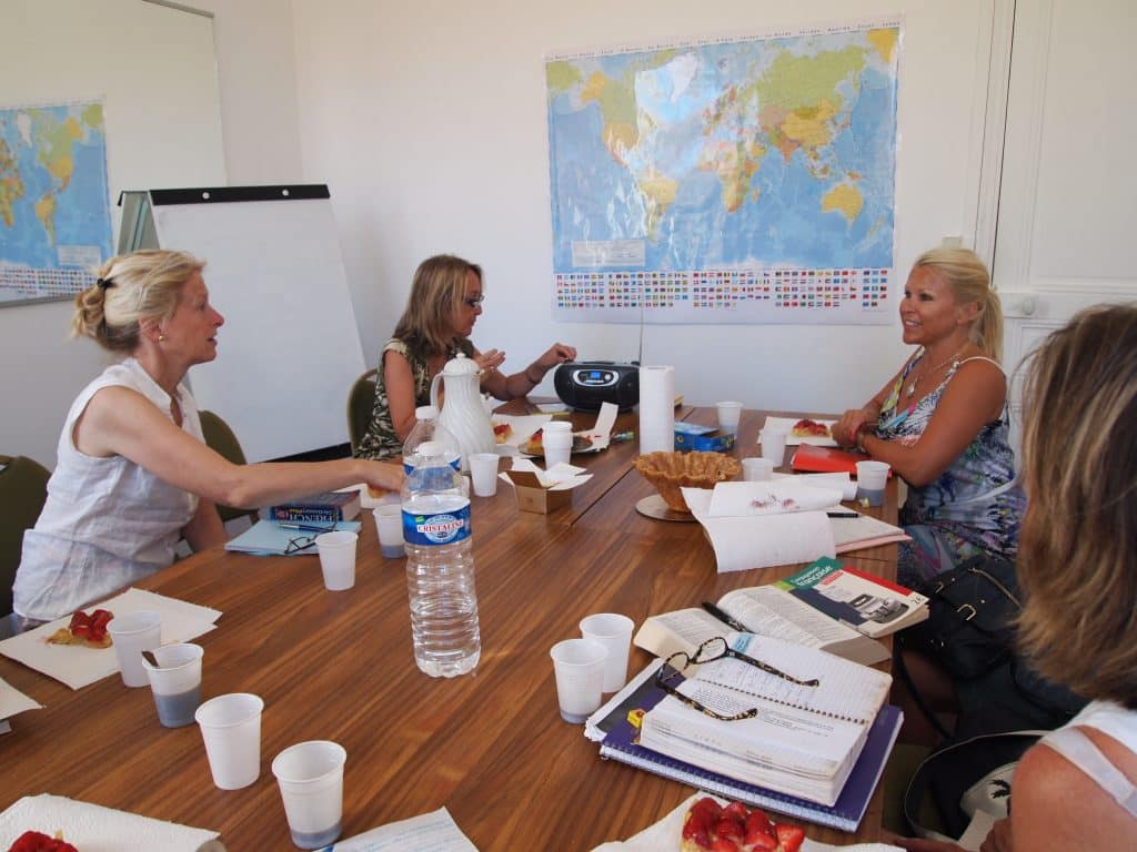 Advanced French class with adult students