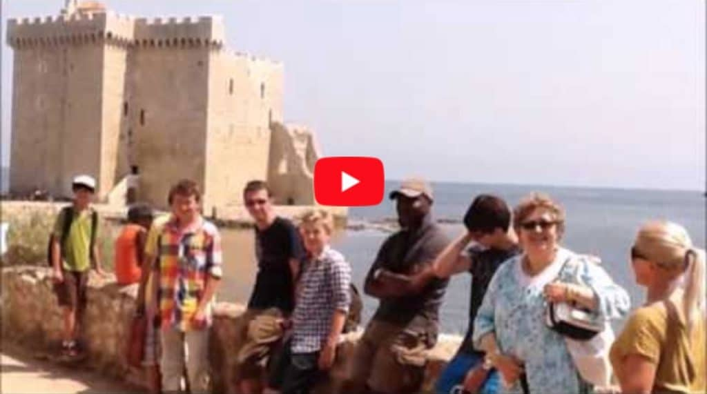 A group of French summer school students enjoying an excursion to Saint-Honorat island, Cannes